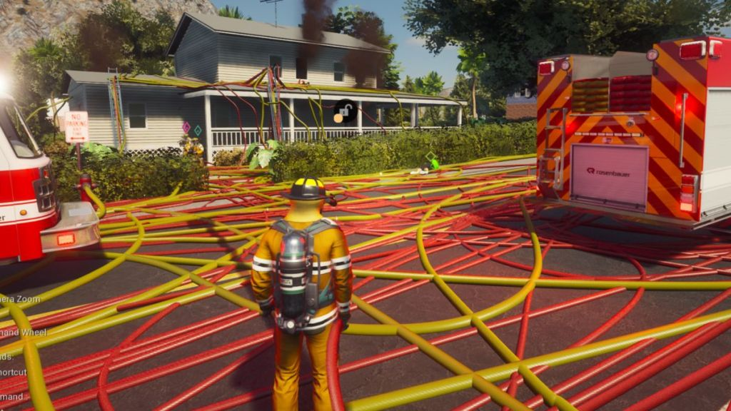 Firefighting Simulator has infinitely long hoses, so I filled a neighborhood with them
