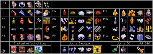 Tela de seleção de armas do Worms contendo as armas de todos os jogos da série