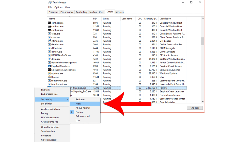 Fortnite set priority to high in task manager