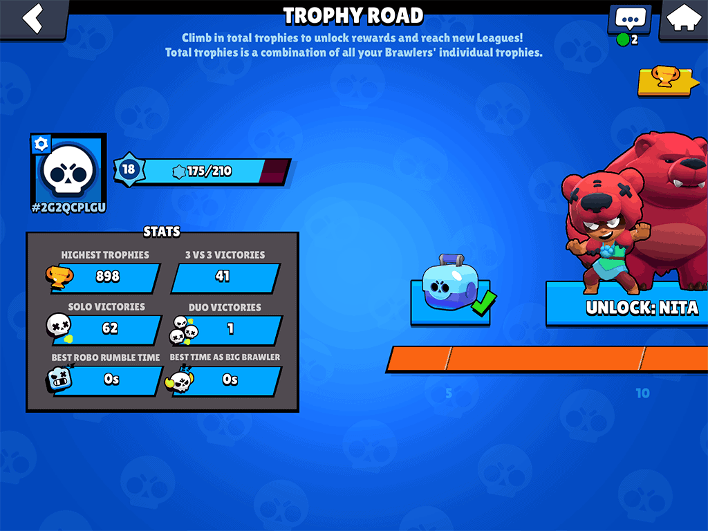 Brawl Stars player level and stats