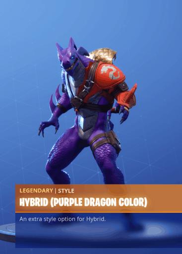 Fortnite Hybrid skin purple dragon color style season 8 battle pass