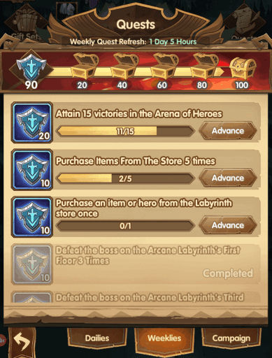 Daily and weekly quests AFK Arena