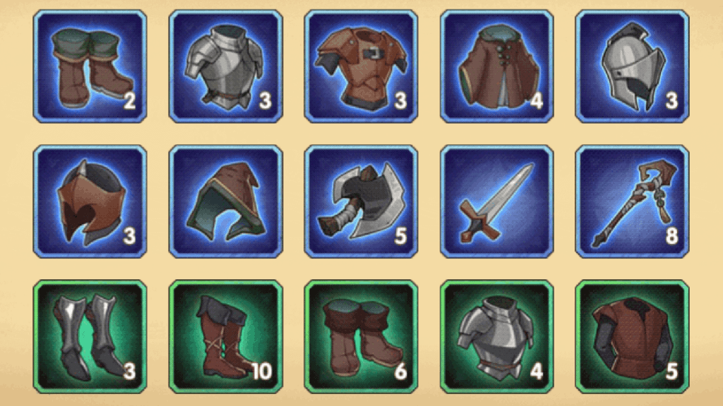Rare and common gear in AFK Arena