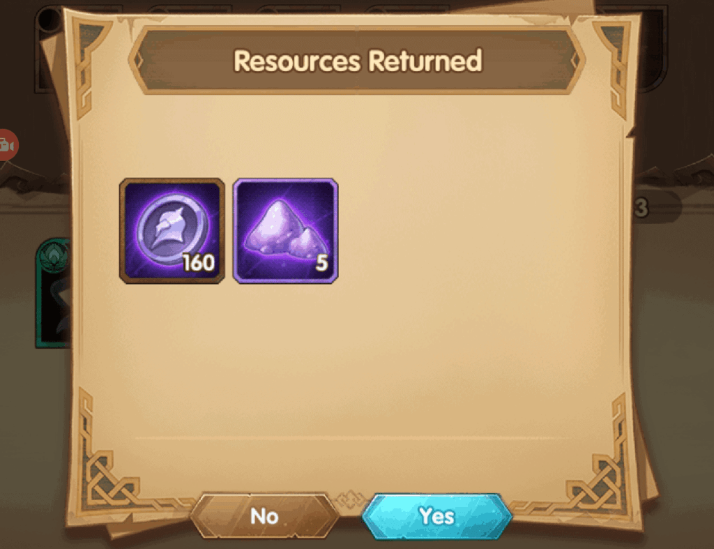 Rewards from retiring heroes AFK Arena