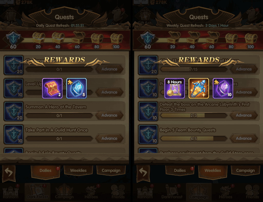 Soulstone rewards from daily and weekly quests AFK Arena
