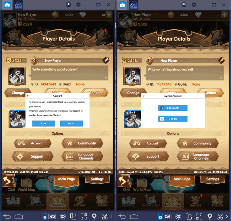 Switching Account in AFK Arena