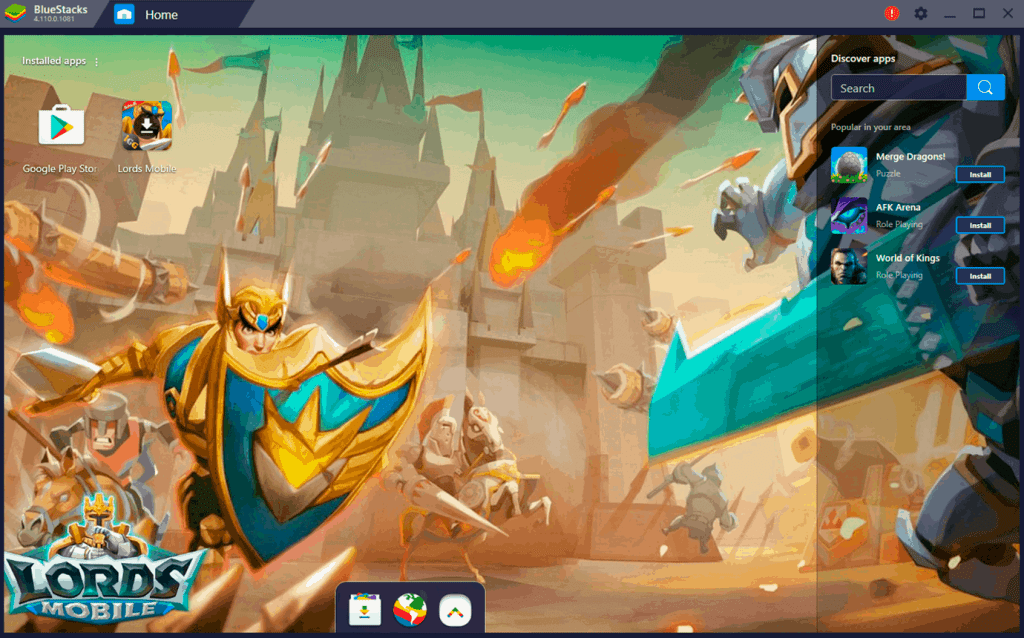 Lords Mobile icon on the Bluestacks homescreen PC