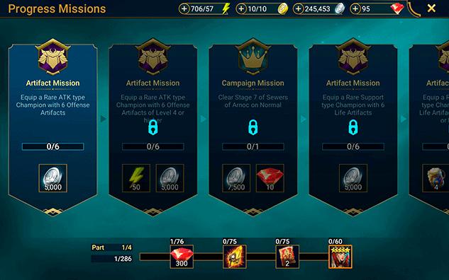 Gems reward from missions RAID Shadow Legends