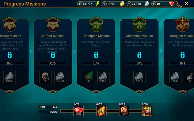 Progress mission shard rewards RAID Shadow Legends
