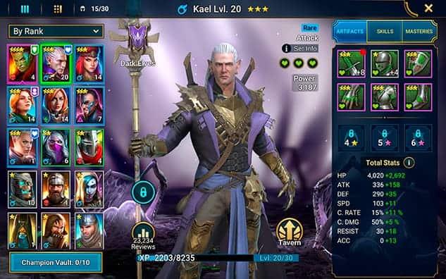 RAID Shadow Legends champion affinity system