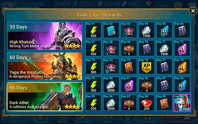 RAID Shadow Legends daily login rewards