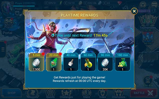 RAID Shadow Legends playtime rewards