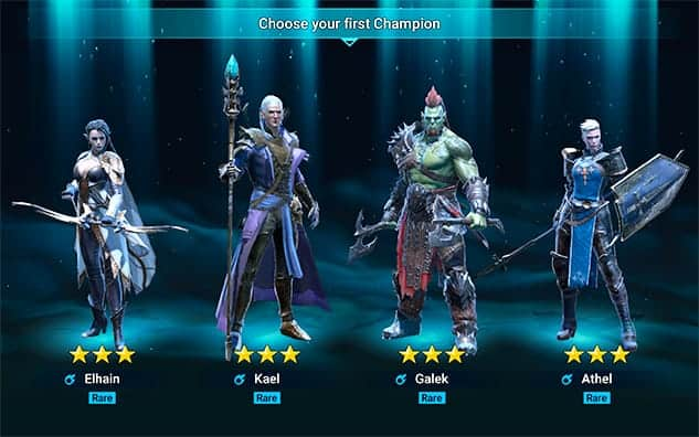 Starter champions Elhain Kael Galek Athel Raid: Shadow Legends