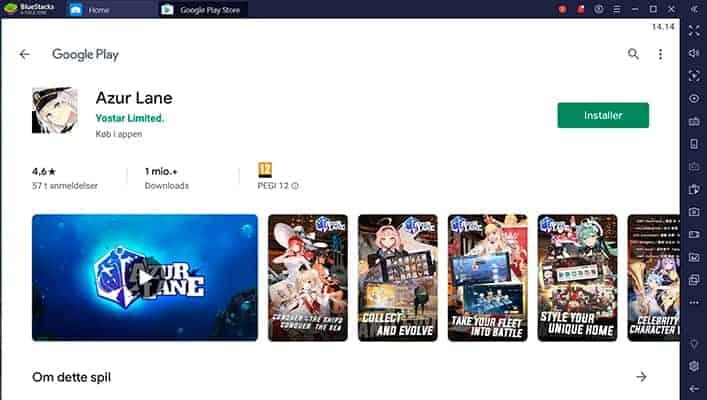 Azur Lane google play page bluestacks