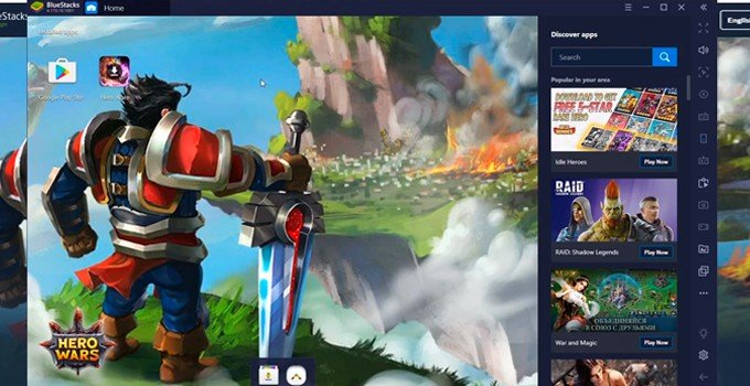 Hero Wars Bluestacks home page PC