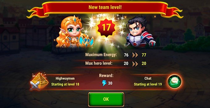 Hero Wars energy reward team level up