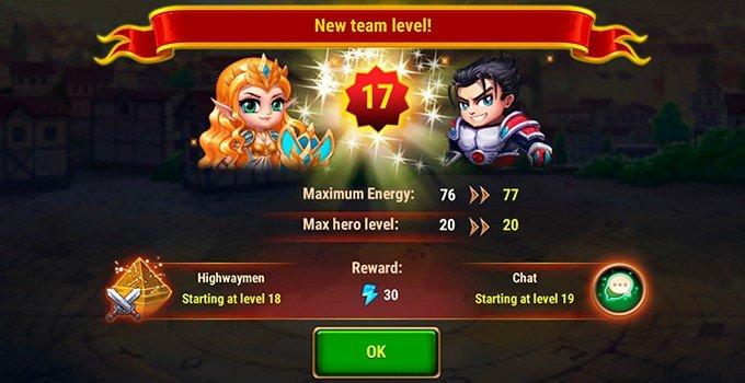 Hero Wars energy reward team level up