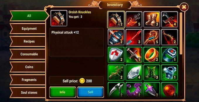 Hero Wars equipment