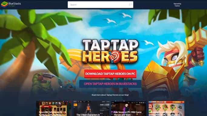 Taptap Heroes PC download landing page