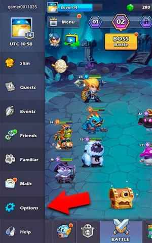 Taptap Heroes options tab