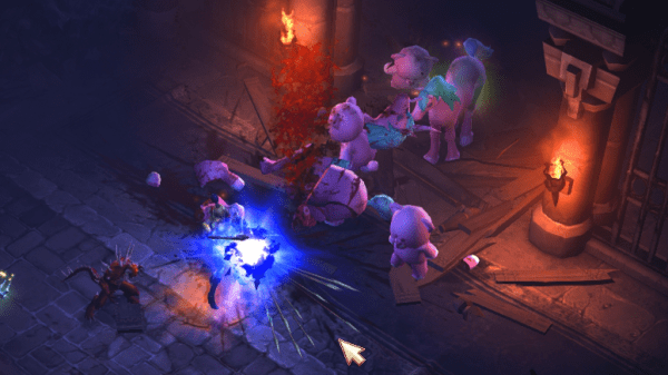 Diablo 3 Demon Hunter shooting ponies and bears