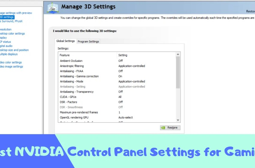 Best NVIDIA Control Panel Settings for Gaming