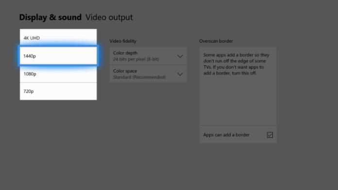 Suporte 1440p Xbox One