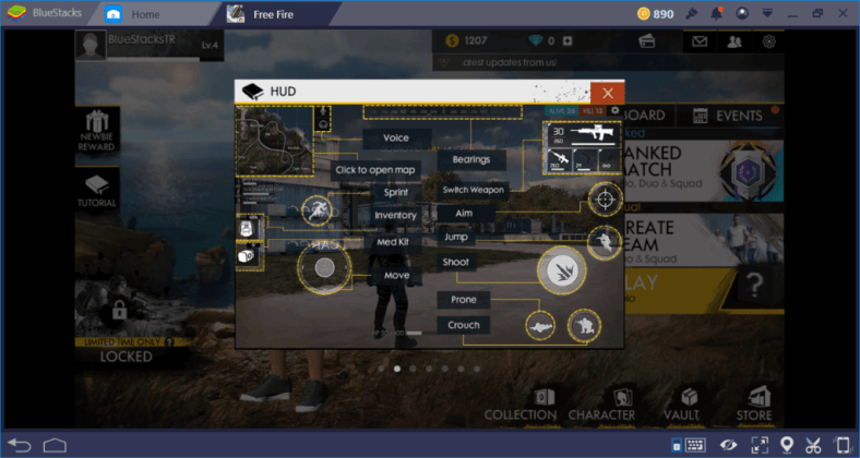 Free Fire HUD Bluestacks