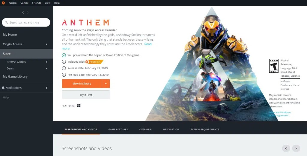 Anthem Vip Demo Origin