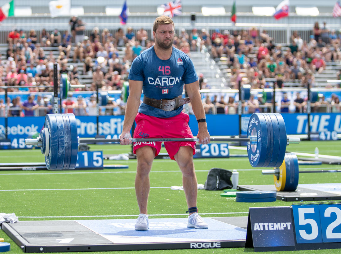Alexandre Caron deadlifting during the CrossFit Total