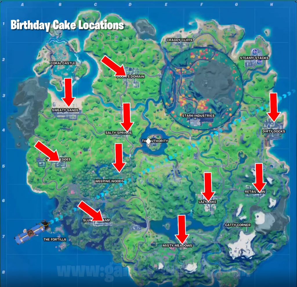 Fortnite All Birthday Cake Locations Games Guides