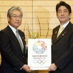 (Left to Right) Tokyo 2020 Bid Chief Tsunekazu Takeda and Japan's Prime Minister Shinzo Abe present bid book