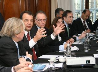 Rio 2016 President Carlos Nuzman and Sergio Cabral, Governor of the State of Rio de Janeiro at Rio 2016 briefing in London