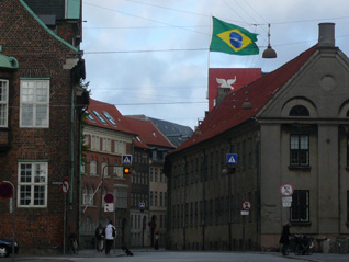 A large Brazilian flag waves over Rio House in Copenhagen after winning Olympic bid (GB Photo)