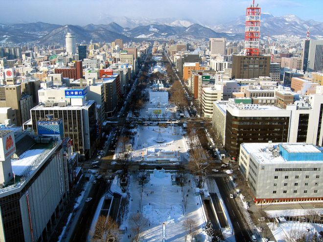 View of the Odori Park during the Sapporo Snow Festival