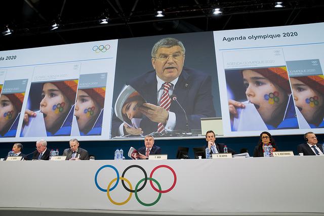 IOC President Thomas Bach at 127th IOC Session speaking on Agenda 2020 (IOC Photo)