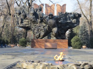 Eternal flame burns in front of Soviet-era monument in Almaty honouring Kazakh troops who defended Moscow in World War II (Photo: GamesBids)