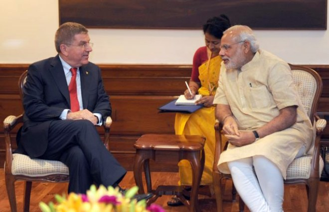 IOC President Thomas Bach with India's Prime Minister Narendra Modi April 27, 2015 (Twitter/Narendra Modi Photo)