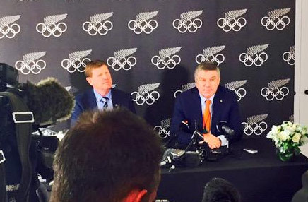 IOC President Thomas Bach fields questions from reporters in Auckland, New Zealand on May 5, 2015 (Twitter/NZ Olympic Committee Photo)