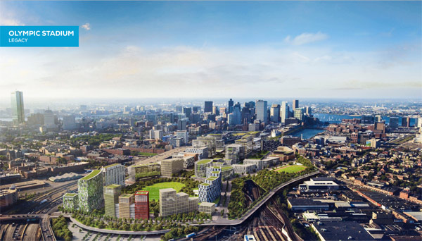 Legacy depiction of Boston 2024 Midtown site after dismantling of Olympic Stadium (Boston 2024 image)
