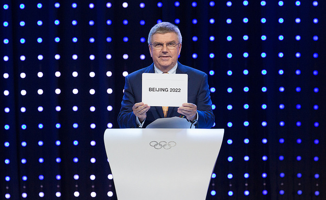 IOC President Thomas Bach opens envelope to reveal Beijing's 2022 Olympic bid victory (IOC Photo)