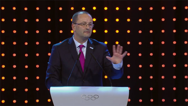 Lausanne 2020 Bid President and IOC Member Patrick Baumann presents to IOC