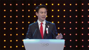 Almaty Bid Ambassador and Olympic bronze medalist Denis Ten presents to IOC