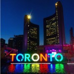 A Pan Am Games legacy, the Toronto sign is lit in front of City Hall (COC Photo)