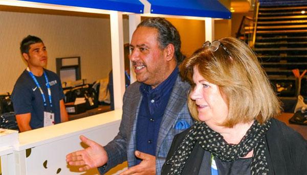 ANOC President Sheikh Ahmad Al-Fahad Al-Sabah arrives in Washington, D.C. with ANOC Secretary General Gunilla Lindberg (ANOC Photo)