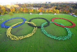 On November 8, 2015, 10,000 citizens of Hamburg form record-breaking Olympic rings pattern in support of bid (Hamburg 2024 Photo)