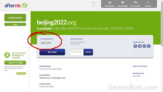 Domain name Beijing2022.org could be purchased in December 2015 for $99,995. Beijing will be hosting the 2022 Olympic Winter Games (Afternic.com screen grab)