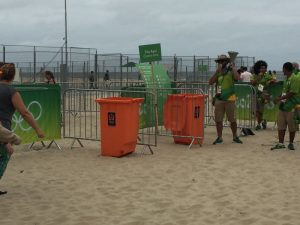 The entrance to the Olympic Beach Volleyball Arena is - on the beach. You may want to take off your shoes and socks (GamesBids Photo)