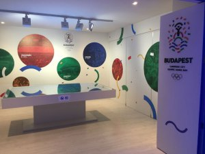 Budapest 2024 Olympic Bid Display at Hungary House in Rio (GamesBids Photo)