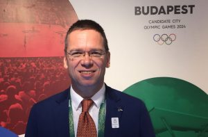 Budapest 2024 Bid Chairman Balázs Fürjes at Hungary House in Rio (GamesBids Photo)
